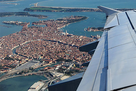 View of Venice from airplane